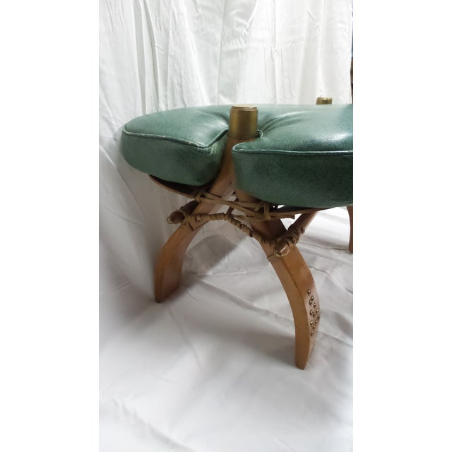 Vintage Camel Saddle Stool with Teal Cushion For Sale - Image 9 of 11