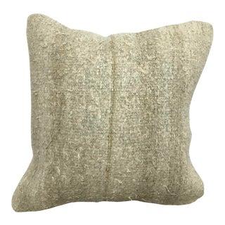 Turkish Beige Vintage Organic Hemp Kilim Pillow For Sale