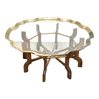 Mid Century Brass Tray Top Coffee Table For Sale