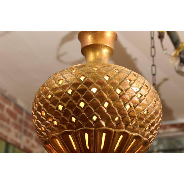 Mid-Century Modern Hollywood Regency Gilt Chandelier For Sale - Image 3 of 4