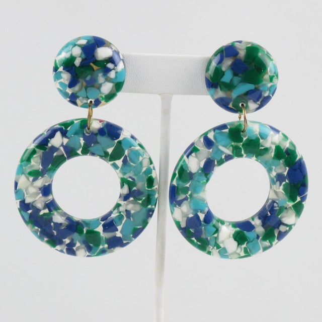Dangle Donut Lucite Clip on Earrings Blue Green Inclusions For Sale In Atlanta - Image 6 of 6