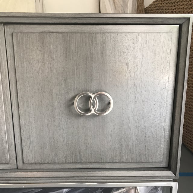 Hollywood Regency Grey Chrome Hollywood Regency Four Door Credenza/Buffet For Sale - Image 3 of 7