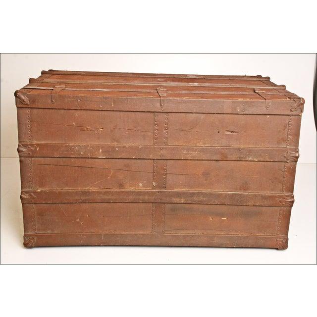 Vintage Brown Wood Steamer Trunk - Image 5 of 11