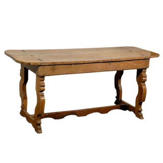 Italian 18th Century Trestle Farm Table With Lyre Shaped Legs For Sale