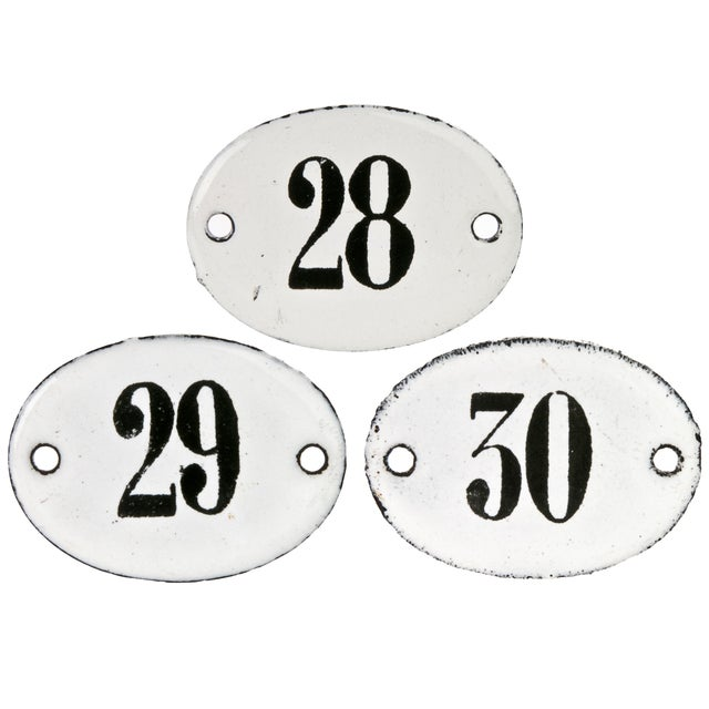 Vintage French Hotel Room Numbers - Set of 3 - Image 1 of 2