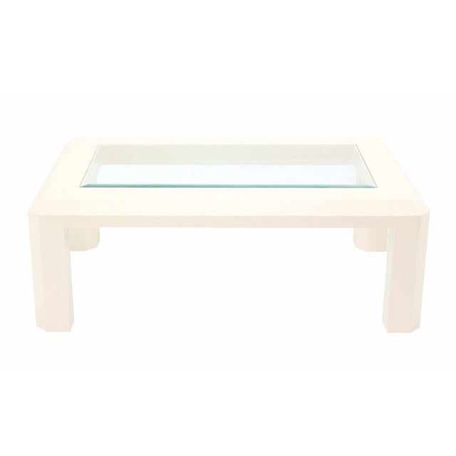 Fabric Mid-Century Modern Textured Grass Cloth Rafia Rectangular Glass Top Coffee Table For Sale - Image 7 of 9