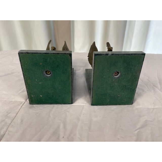 Metal Mid 20th Century Marble & Brass Eagle Bookends - a Pair For Sale - Image 7 of 8
