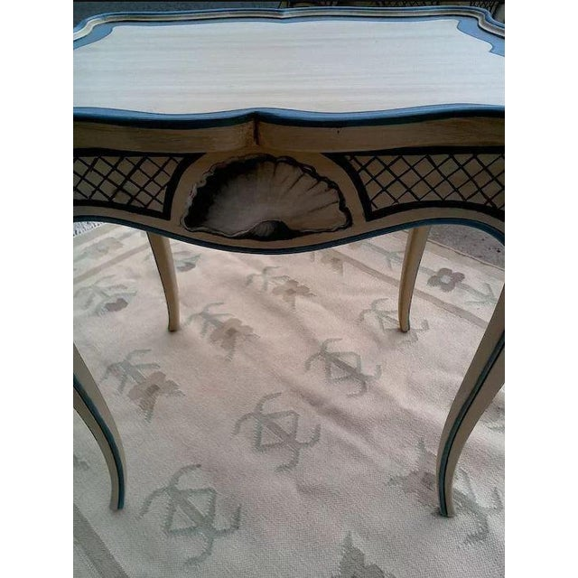 Late 20th Century Tea Tables With French Style Paint Cabriole Legs and Candle Slides - a Pair For Sale - Image 5 of 11