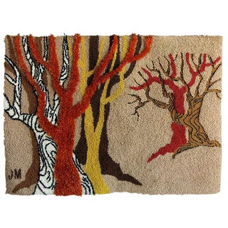 Postmodern Hand-Hooked Tapestry Rug, Signed by Artist For Sale