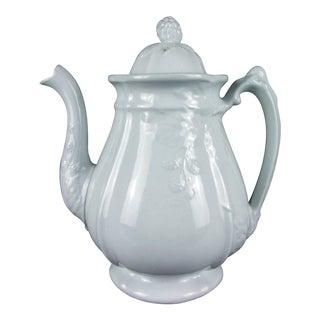 Antique Ironstone Teapot White English 1840s For Sale