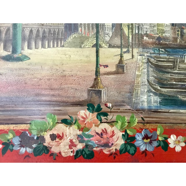 19th Century Tole Tray Featuring a Hand Painted Italian Scene For Sale - Image 11 of 13
