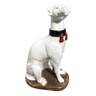 Vintage Ceramic Dog With Fringed Collar For Sale