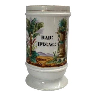 French Porcelain Decorated Rad Ipecac Apothecary Jar For Sale