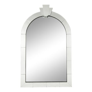 Modern Art Deco Style Arched Full Length Floor or Over Mantel Mirror For Sale