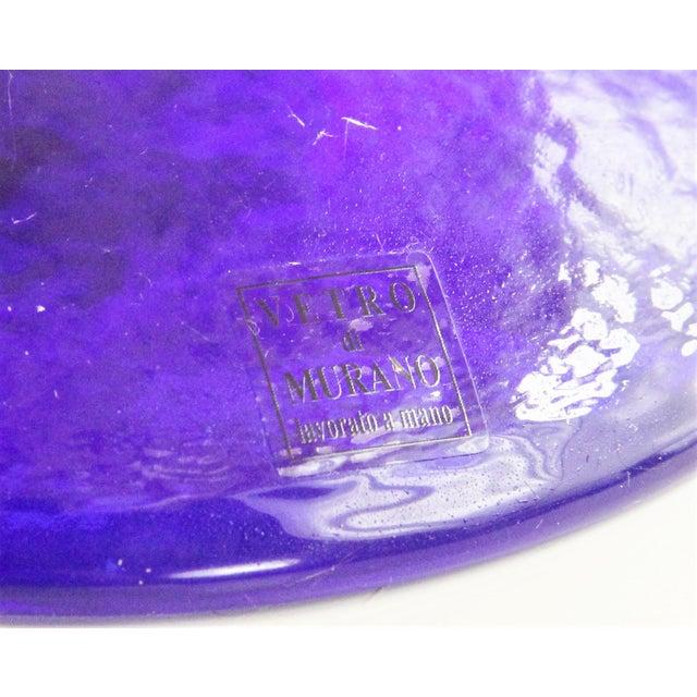 2000 - 2009 20th Century Sasaki Vetro Murano Yellow Speckle Pedestal Console Bowl For Sale - Image 5 of 7