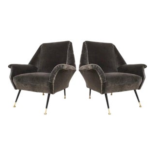 1950s Gigi Radice for Minotti Italian Vintage Gray Mohair Armchairs - a Pair For Sale