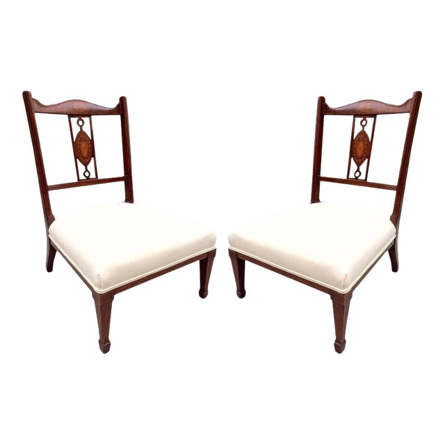 Pair of 19th Century Regency Style Mahogany Inlaid Slipper Chairs For Sale
