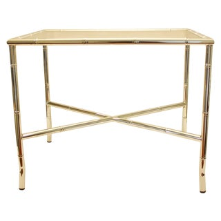 Chrome Faux Bamboo End Table with Smoked Glass Top For Sale