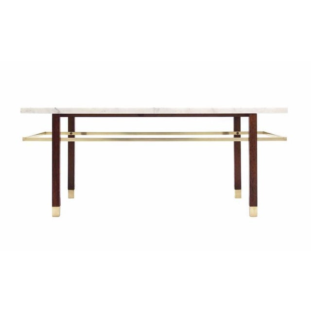 Early 20th Century Harvey Probber Marble Top Rectangular Coffee Table w/ Brass Rectangular stretche For Sale - Image 5 of 7