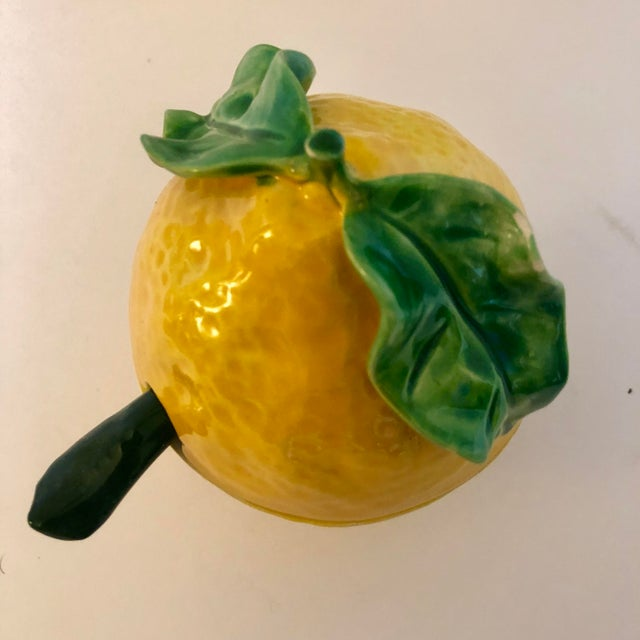 Vintage Italian pottery lemon covered dish with spoon.