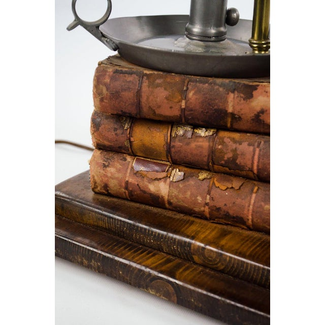 Brass Leather-Bound Book Stack and Pewter Candle Holder Table Lamp For Sale - Image 8 of 13