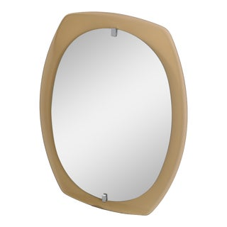 Vintage Veca Mid-Century Modern Beveled Wall Mirror & Smoked Glass and Chrome For Sale