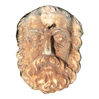 Neoclassical Garden Wall Mounted Cast Iron Face Mask For Sale