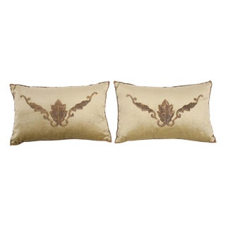 B. Viz Design Antique European Embroidered Velvet Textile Pillows - a Pair For Sale