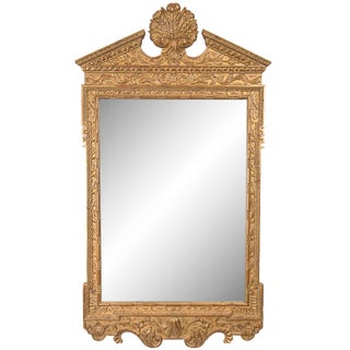 Georgian Style Hand-Carved and Gilt Mirror, Late 20th Century For Sale