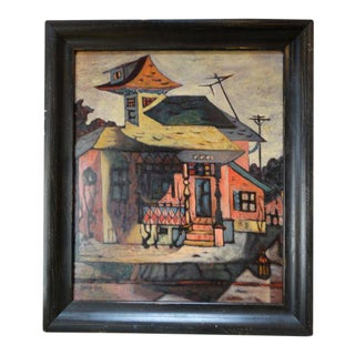 "Evelyn Kane ""Bunker Hill Los Angeles"" Oil Painting on Canvas, 1955 For Sale"