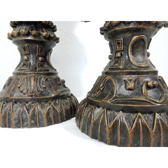 Bronze Vintage Anglo Indian Bronze Style Patinated Elephant Table Lamps - a Pair For Sale - Image 8 of 8