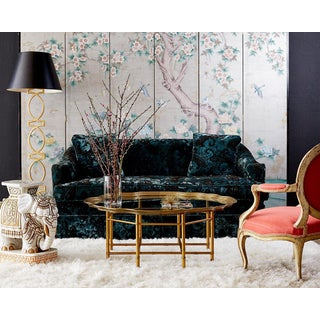 Chinoiserie Painted Silver Leaf Six-panel Wallpaper Screen Preview