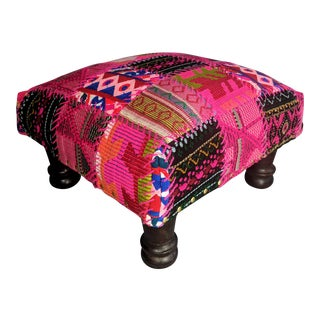 Fuchsia Patchwork Bohemian Footstool For Sale