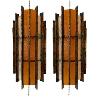 Pair of Sconces Metal Glass Gold Leaf by Biancardi Arte. Italy, 1970s For Sale