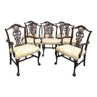 Chippendale Carved Mahogany Dining Room Chairs - Set of 8 For Sale