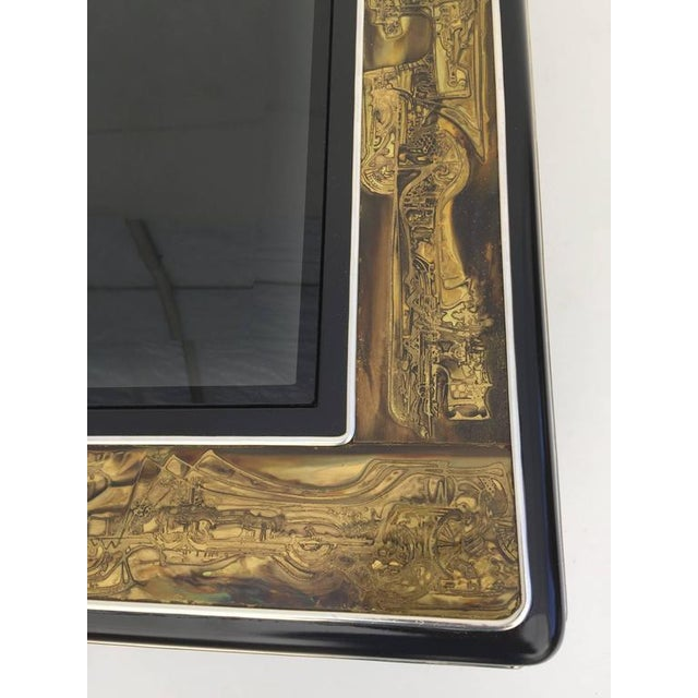 Metal 1970s Mid-Century Modern Bernhard Rohne for Mastercraft Acid Etched Brass Coffee Table For Sale - Image 7 of 8