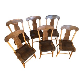 Mid 19th Century Plank Bottom Chairs - Set of 6 For Sale