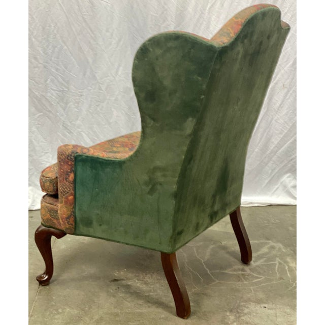 Wood Vintage Mahogany Frame Chippendale Style Upholstered Wingback Chair For Sale - Image 7 of 11