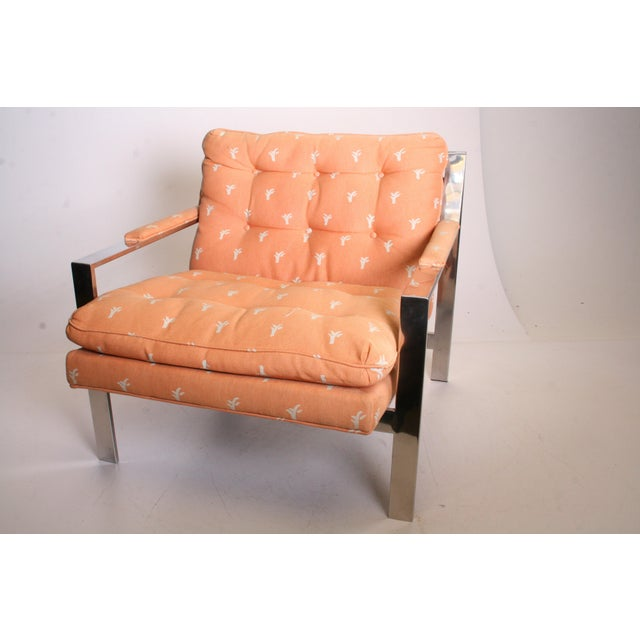 Vintage Chrome Upholstered Arm Chair by Cy Mann - Image 3 of 11