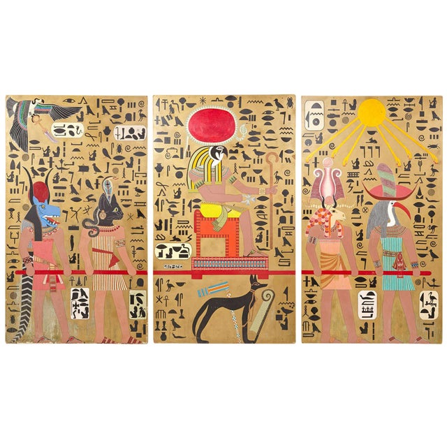 Art Deco Egyptian Themed Art Panels Triptych Book of the Dead Symbolism For Sale