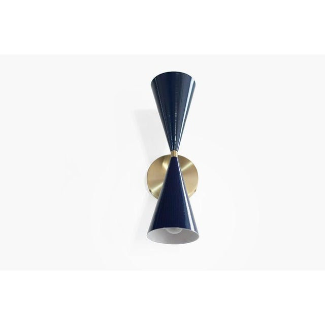 "Brass & Midnight Enamel ""Tuxedo"" Wall Sconces - a Pair For Sale - Image 9 of 12"