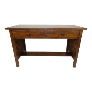 """Gorgeous Two Drawer Mission Oak Stickley Style Writing Desk/ Library Table 50 """" For Sale"""