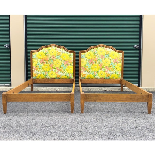 Vintage Upholstered Twin Bed Frames - a Pair For Sale - Image 13 of 13