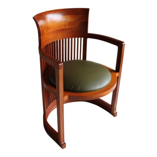 "Vintage Italian Frank Lloyd Wright ""Taliesin 606"" Cherry Barrel Chair For Sale"