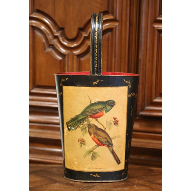 Mid-Century French Hand Painted and Gilt Tole Basket With Bird Decor For Sale - Image 12 of 12