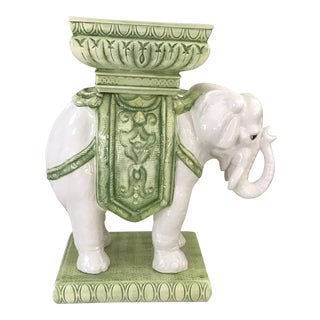 Vintage Bohemian Moroccan-Style White and Green Glazed Ceramic Elephant Garden Stool