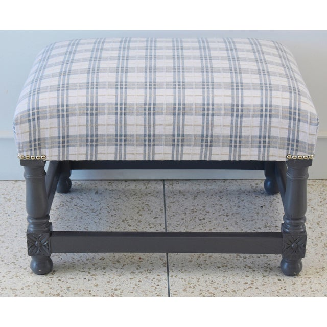 Vintage Ottoman Upholstered With Designer Linen Accented W/ Nailhead Tacking For Sale - Image 11 of 13