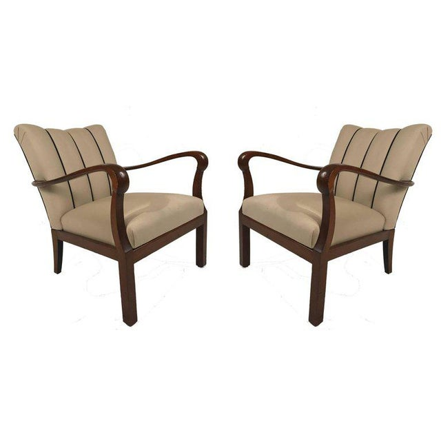 1940s Danish Modern Mahogany Open Armchairs - a Pair For Sale - Image 5 of 6