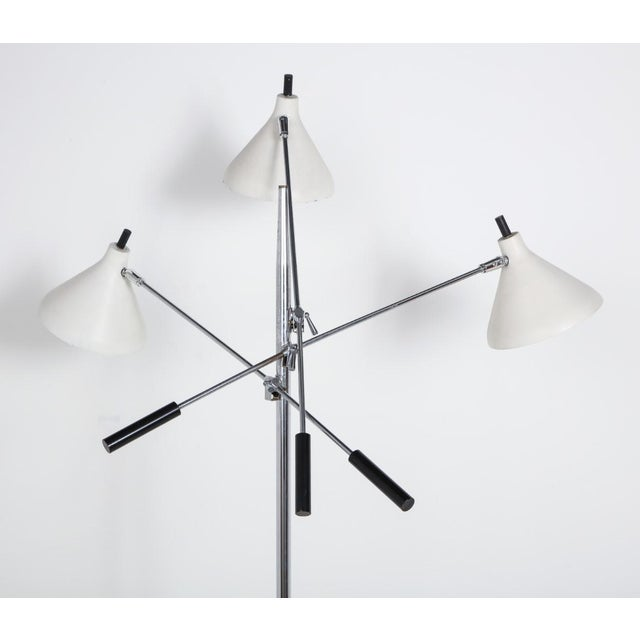 White and Chrome Floor Lamp With Three Heads For Sale - Image 10 of 13