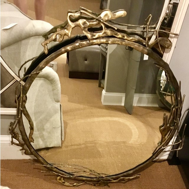 Gold Transitional Arteriors Home Brass Ivy Wall Mirror For Sale - Image 8 of 9